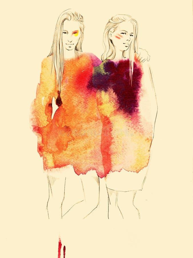 Två unga härliga flickor drar ståendemodeillustrationen arkivbild