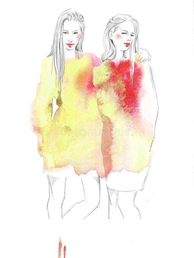 Två unga härliga flickor drar ståendemodeillustrationen royaltyfri fotografi