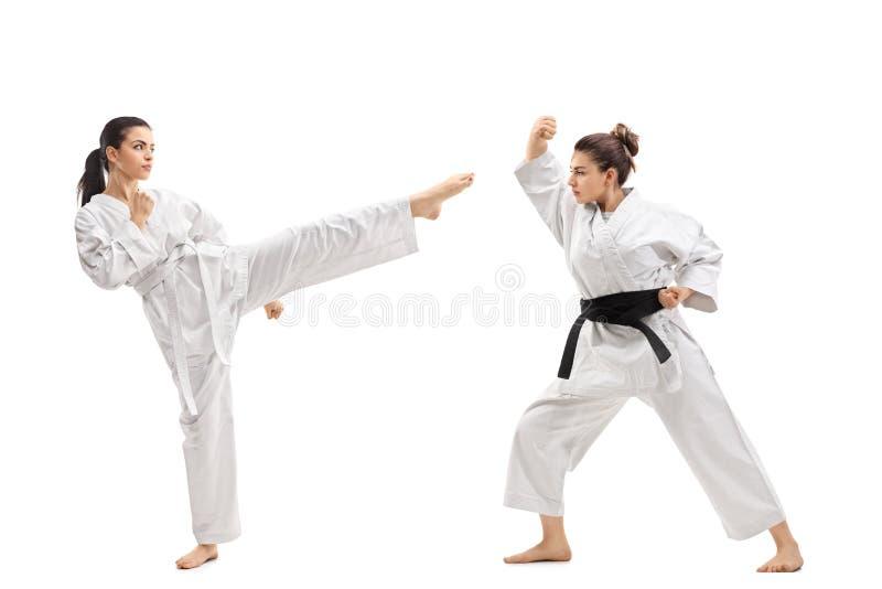 Två unga kvinnor i kimonon som öva kampsporter arkivbilder