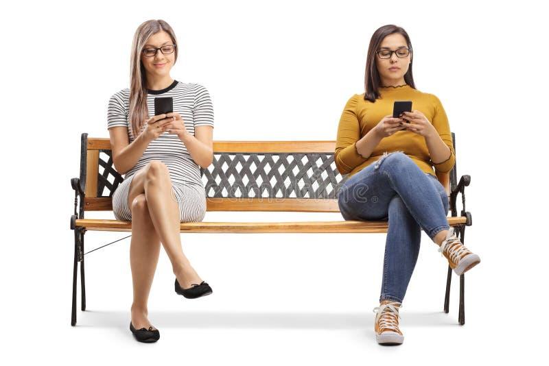 Två unga kvinnor som sitter på en bänk och skriver på smartphones royaltyfria bilder