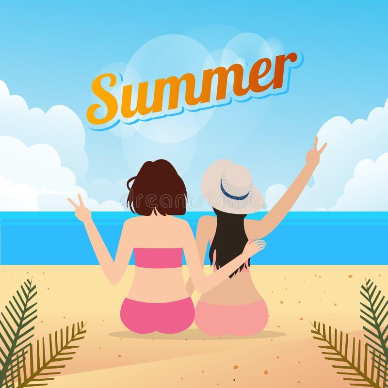 Två unga kvinnor som tillsammans sitter på för lopplivsstil för sandig strand en utomhus- sommar stock illustrationer