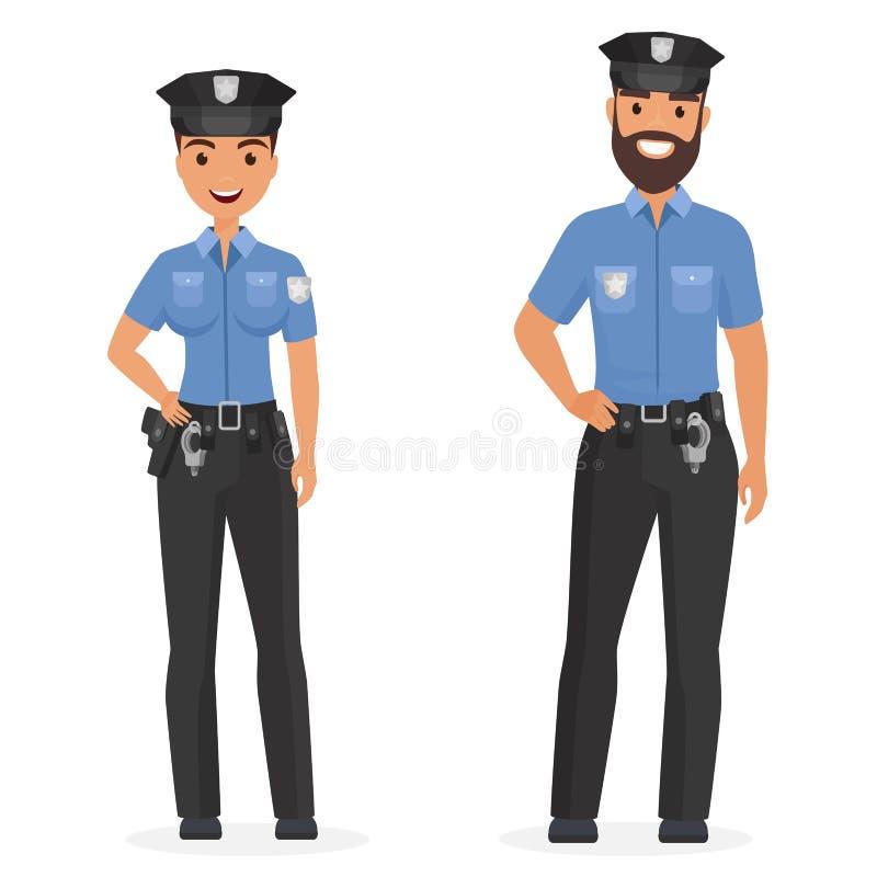 Två unga lyckliga poliser, mannen och kvinnan isolerade tecknad filmvektorillustrationen royaltyfri illustrationer