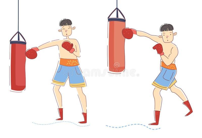 Två unga män - erfaren boxare och nybörjaren som utarbetar på stansmaskinpåsar i en idrottshall i en hälsa och en kondition och stock illustrationer