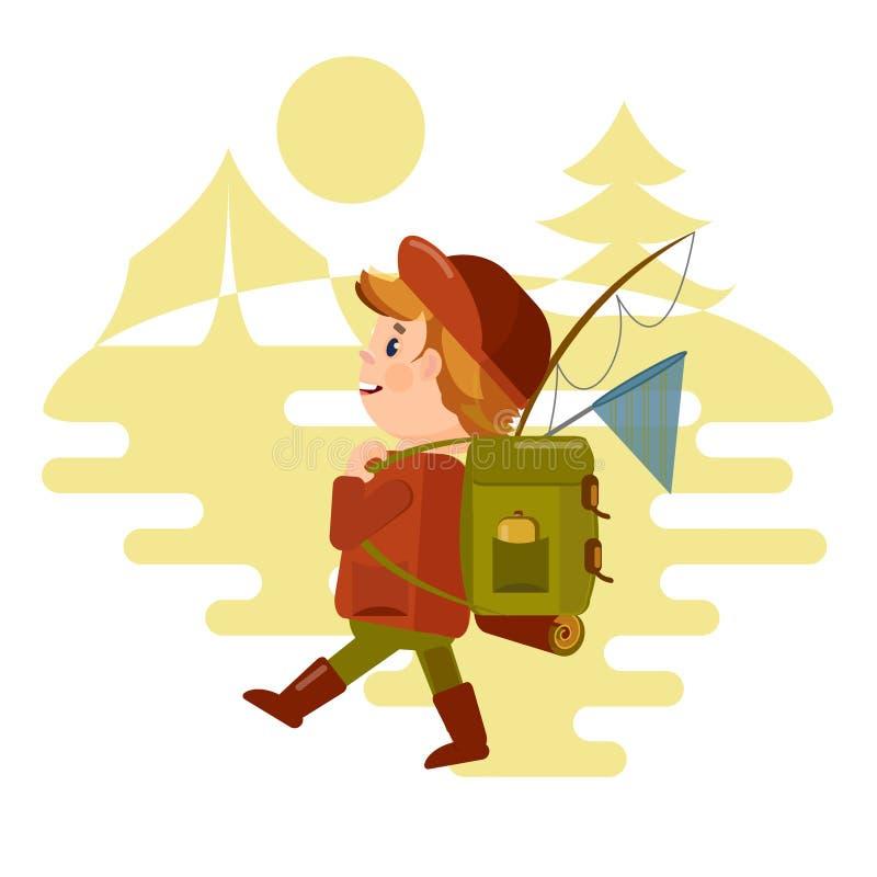 Två unga män som är turist- med en ryggsäck, går på en vandring mot bakgrunden av naturen Vektor i stilen av th stock illustrationer