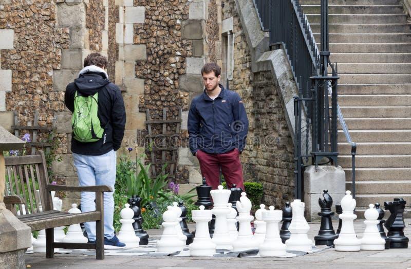 Två unga män som spelar schack royaltyfri foto