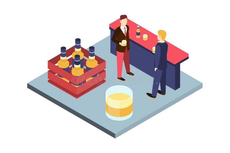 Två unga manliga vänner som dricker öl på stången, inre vektorillustration för bar royaltyfri illustrationer
