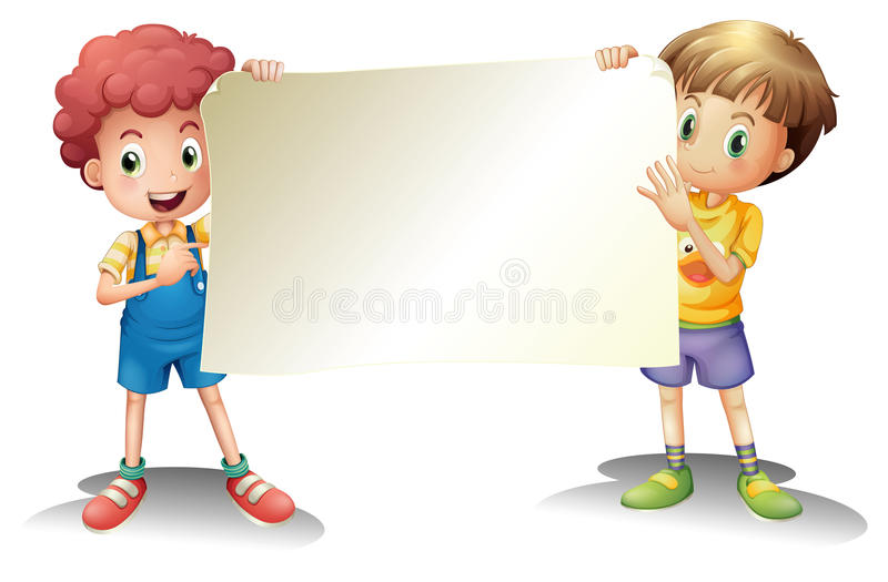 Två unga pojkar som rymmer en tom signage stock illustrationer