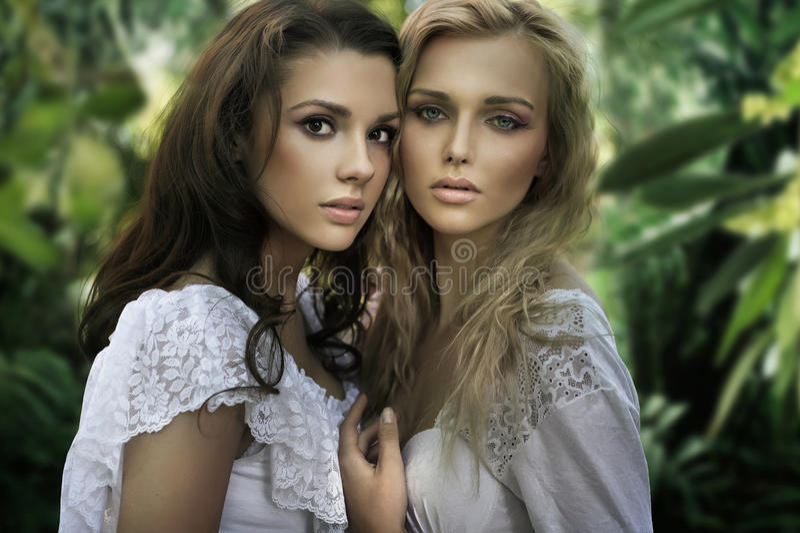 Två unga skönhetar arkivbild