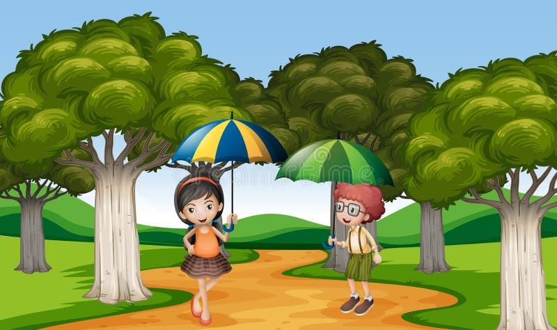 Två ungar med paraplyet i parkera vektor illustrationer
