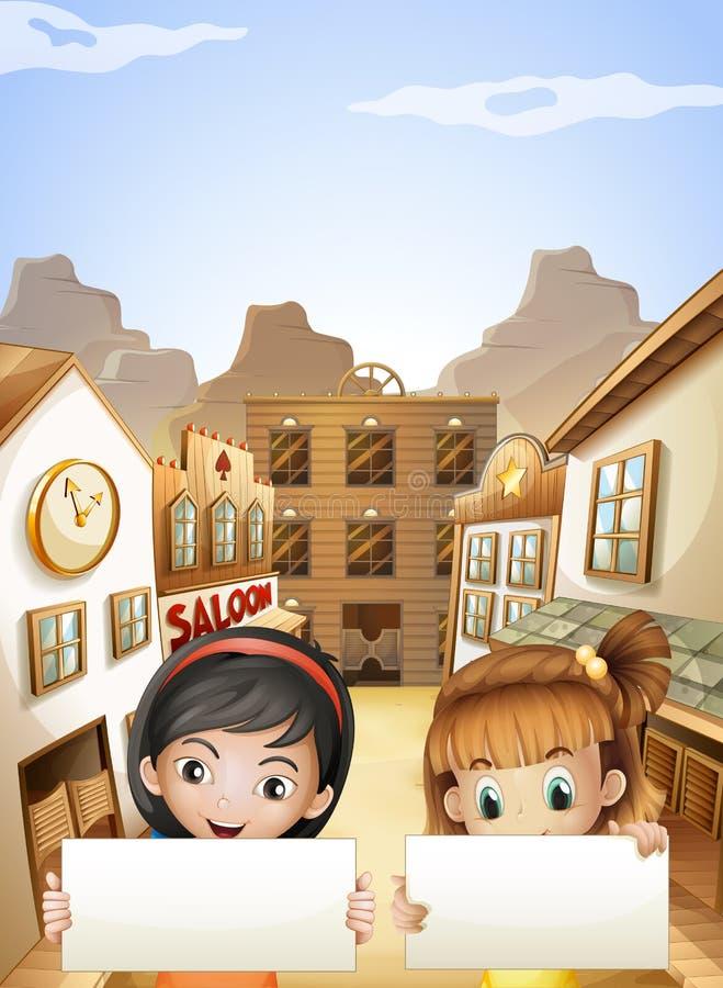 Två ungar nära salongstängerna som rymmer två tomma skyltar stock illustrationer