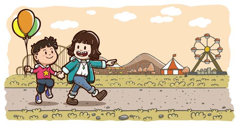 Två ungar som går rymma bakgrund för nöjesfält för hand—sepia horisontal vektor illustrationer