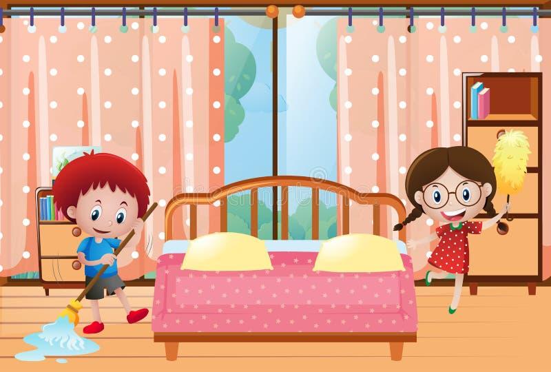 Två ungar som gör ren sovrummet stock illustrationer