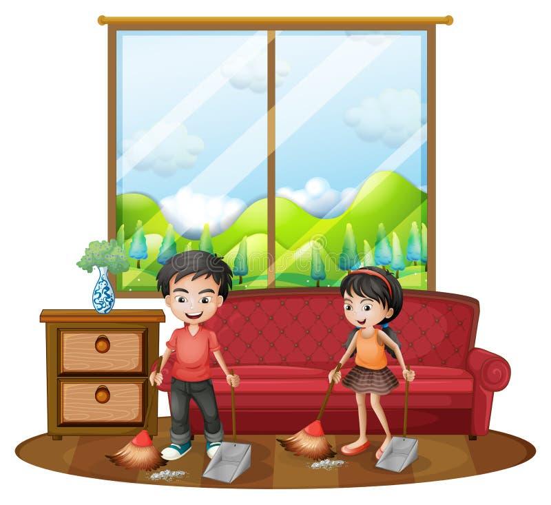 Två ungar som sopar golvet royaltyfri illustrationer