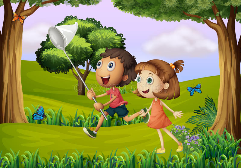 Två ungar som spelar på skogen med ett netto royaltyfri illustrationer