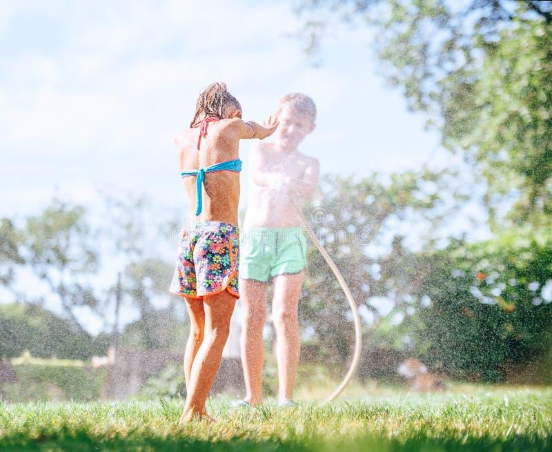Två ungar som spelar på trädgården, häller sig från slangen, gör ett regn royaltyfri bild