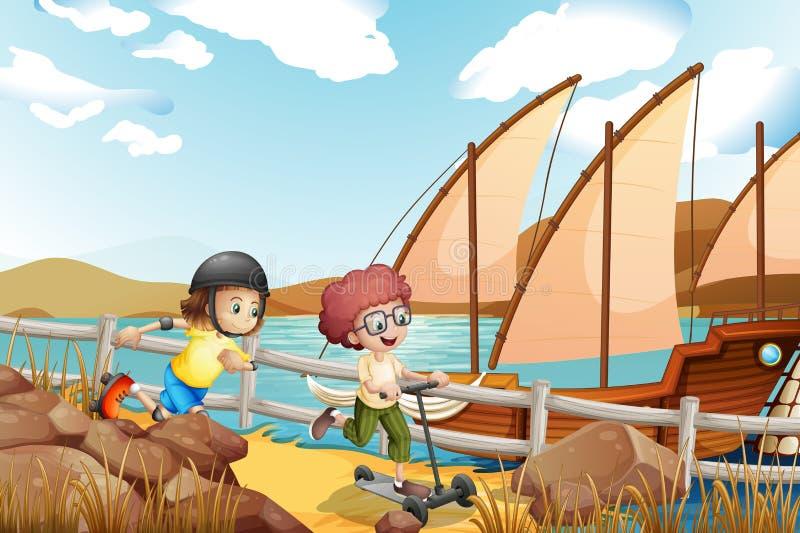 Två ungar som springer med en rollerskater och en sparkcykel stock illustrationer