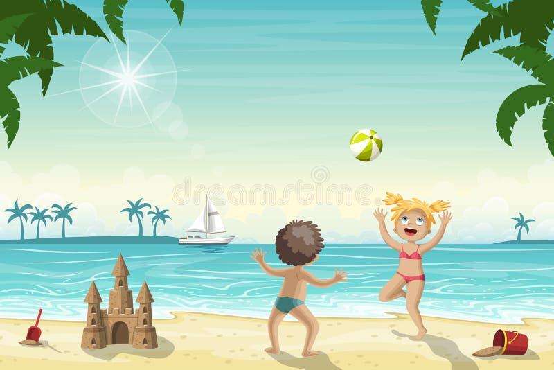 Två ungar spelar på stranden stock illustrationer