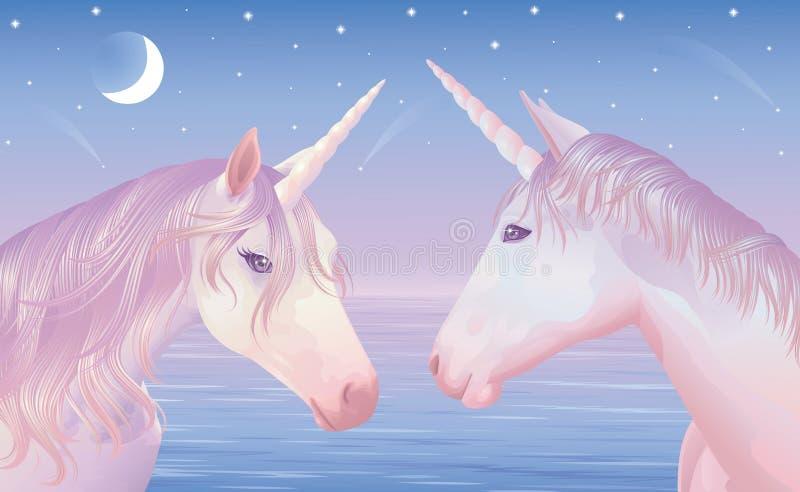 två unicors vektor illustrationer