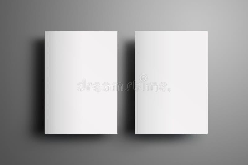 Två universal tom stängd A4, broschyrer A5 med mjuk realisti royaltyfri illustrationer