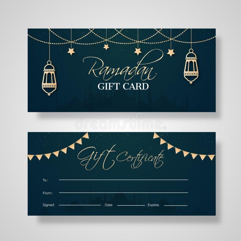 Två uppsättningar av presentkortkortdesignen med garnering av den guld- färglyktan för Ramadan Kareem stock illustrationer