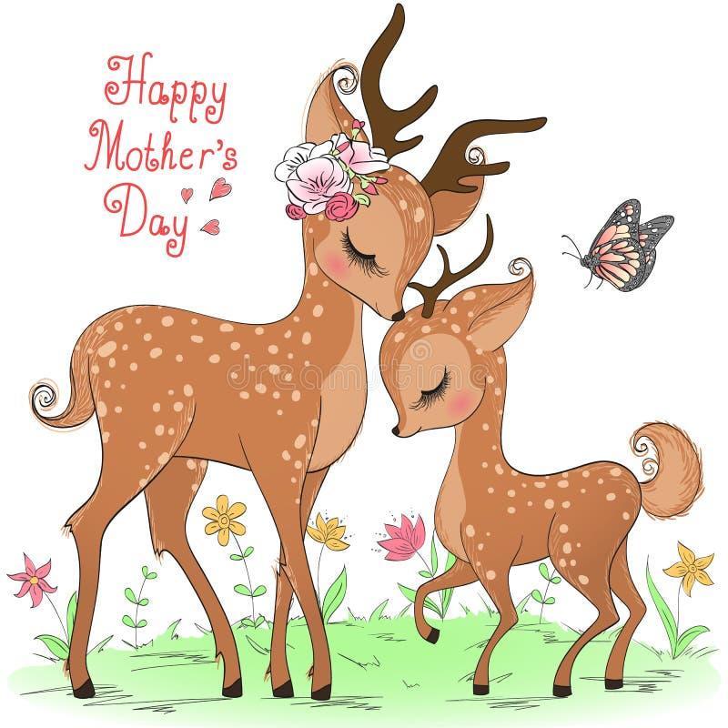 Två utdragna gulliga hjortflickor för hand lyckliga mödrar för dag stock illustrationer