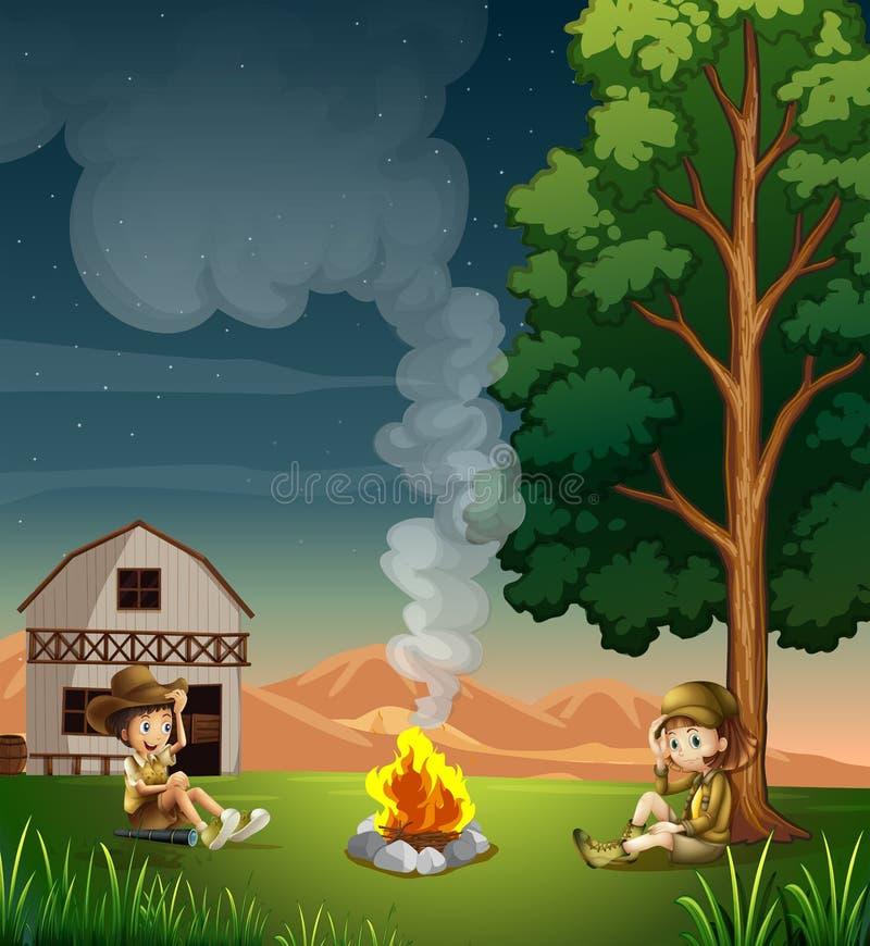 Två utforskare som gör en lägereld stock illustrationer