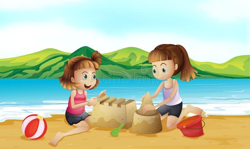Två vänner som gör en slott på stranden vektor illustrationer
