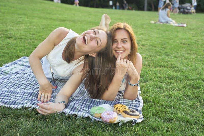 Två vänner som ligger på gräsmattan royaltyfri bild