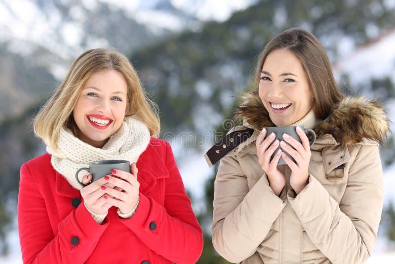 Två vänner som poserar i vintern som ser kameran arkivbild