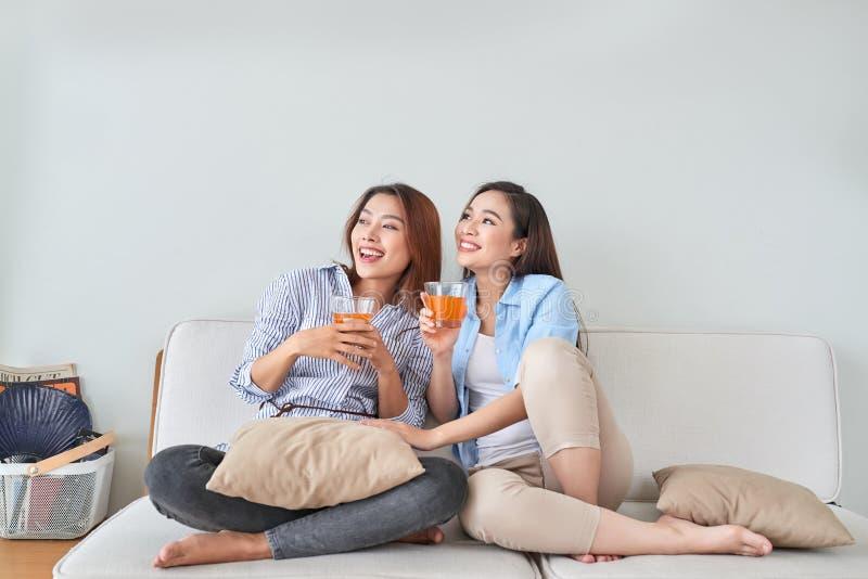 Två vänner som talar och tycker om en orange fruktsaft som hemma sitter på en soffa i vardagsrummet royaltyfri bild