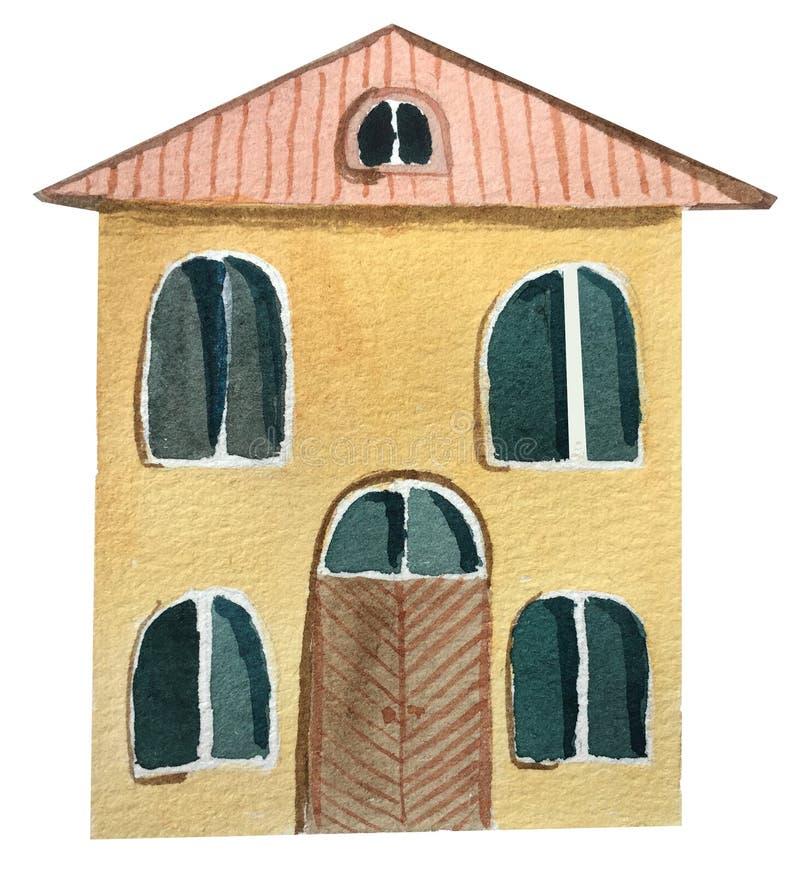 Två-våning europeiskt hus med en stor dörr f?r flygillustration f?r n?bb dekorativ bild dess paper stycksvalavattenf?rg royaltyfri illustrationer