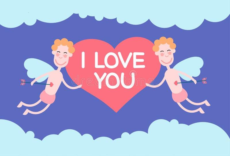 Två valentin änglar som flyger himmelhållhjärta älskar jag, dig helgonet Valentine Holiday vektor illustrationer