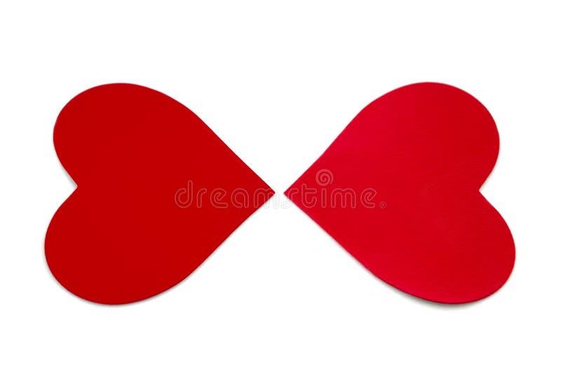 Två valentinhjärtor. arkivbild
