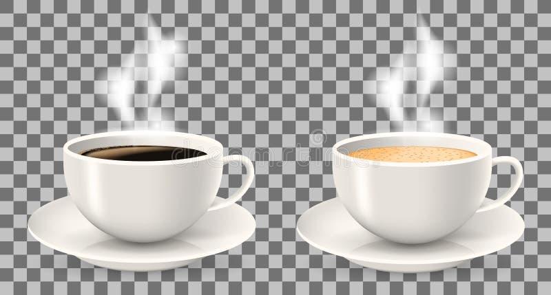 Två varma koppar kaffe med ånga på tefat royaltyfria foton