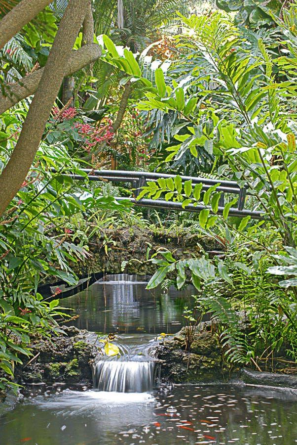 Två vattenfall i sjunkna trädgårdar arkivbild