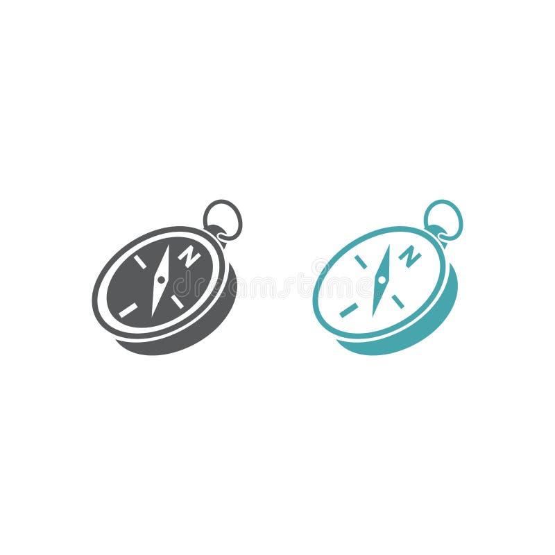 Två vektorillustrationer av en kompass stock illustrationer