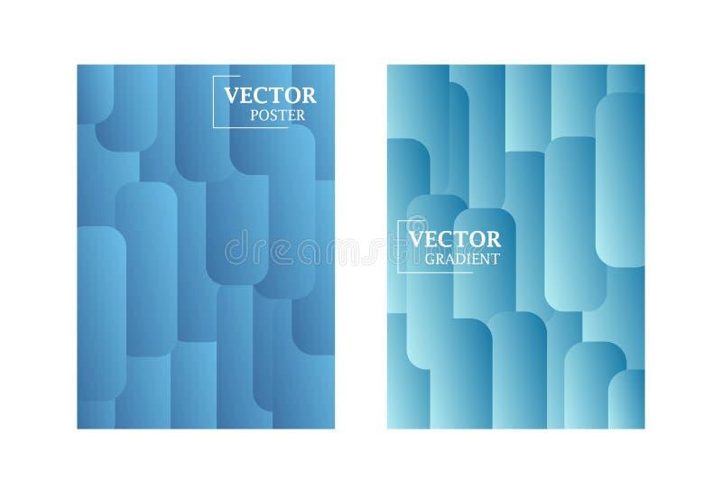 Två vektorreklambladmallar i blå färg med lutningeffekt vektor illustrationer