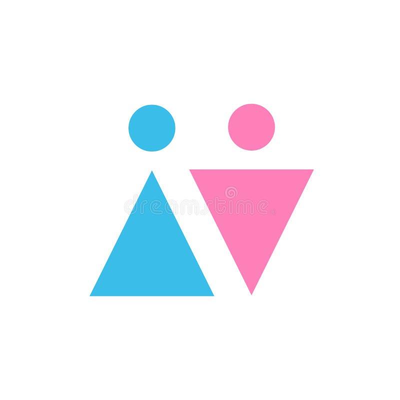 Två vektorsymboler Manligt och kvinnligt genustecken kvinnor för sky för män för blå familj för bakgrund lyckliga B stock illustrationer