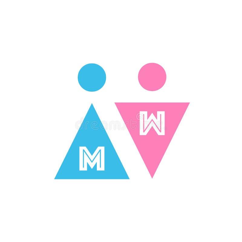 Två vektorsymboler med bokstäver Manligt och kvinnligt genustecken Män royaltyfri illustrationer