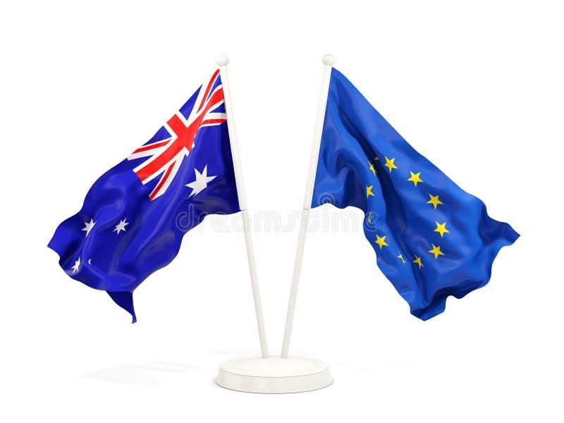 Två vinkande flaggor av Australien och EU som isoleras på vit royaltyfri illustrationer