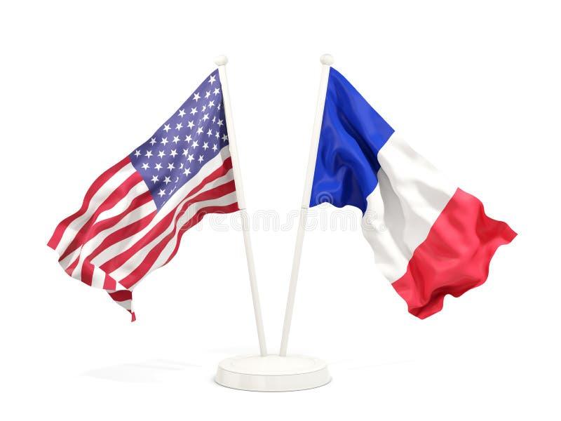 Två vinkande flaggor av Förenta staterna och Frankrike stock illustrationer