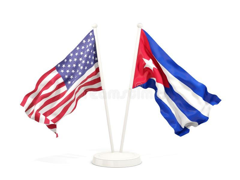 Två vinkande flaggor av Förenta staterna och Kuba royaltyfri illustrationer