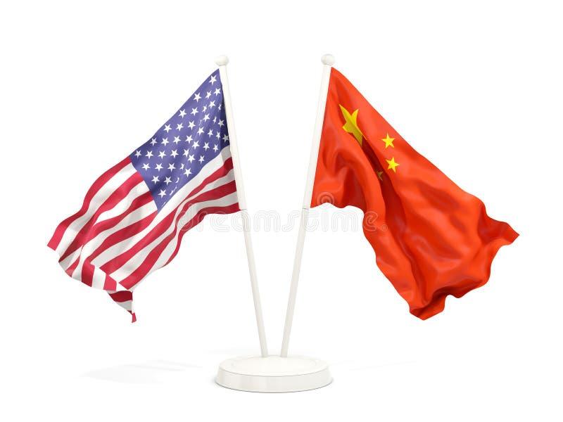 Två vinkande flaggor av Förenta staterna och porslin royaltyfri illustrationer