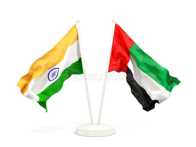 Två vinkande flaggor av Indien och Förenade Arabemiraten som isoleras på vit vektor illustrationer