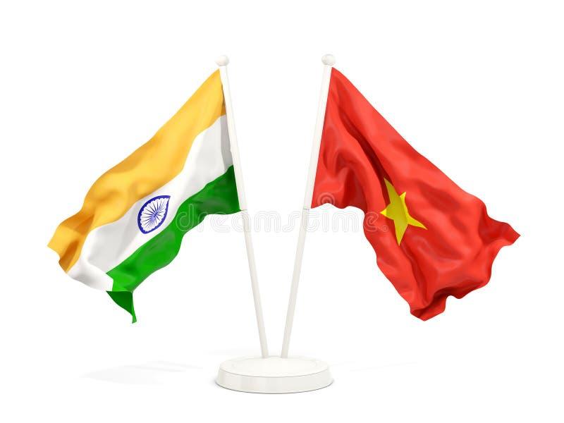 Två vinkande flaggor av Indien och Vietnam som isoleras på vit stock illustrationer