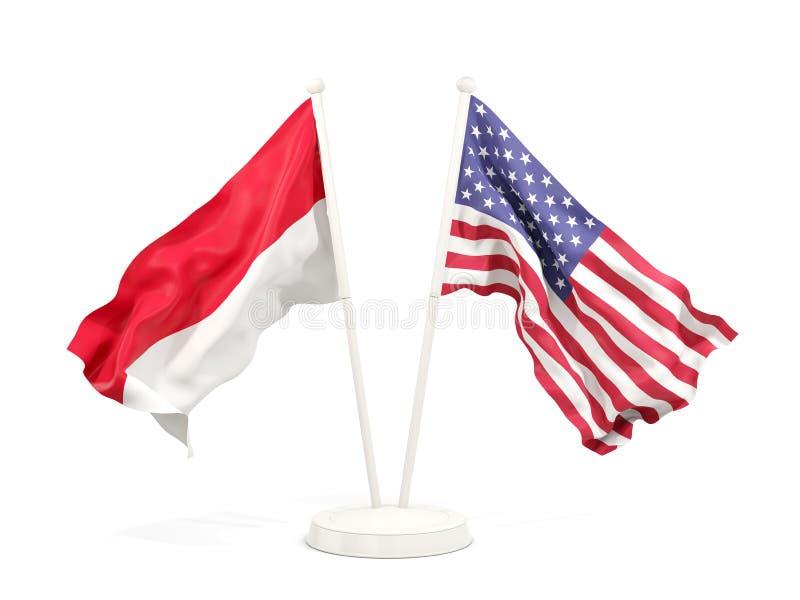 Två vinkande flaggor av Indonesien och Förenta staterna som isoleras på vit stock illustrationer