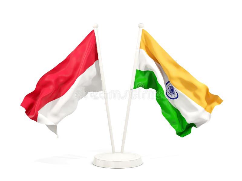 Två vinkande flaggor av Indonesien och Indien som isoleras på vit royaltyfri illustrationer