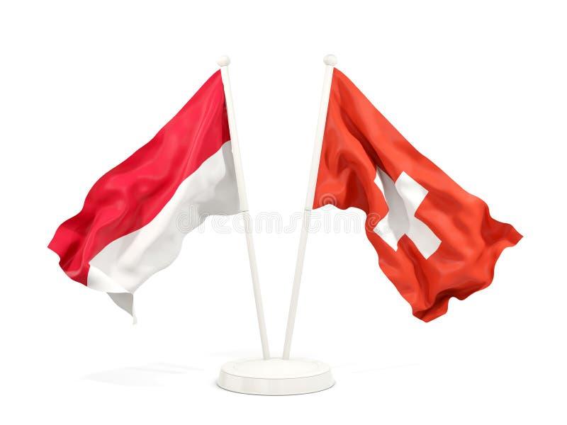 Två vinkande flaggor av Indonesien och Schweiz som isoleras på vit royaltyfri illustrationer
