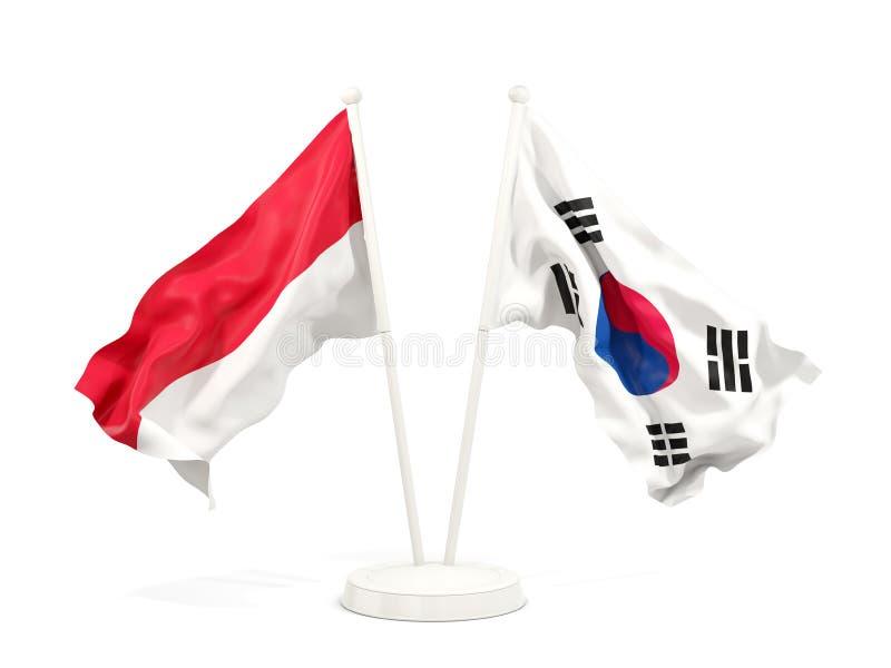 Två vinkande flaggor av Indonesien och Sydkorea som isoleras på vit vektor illustrationer