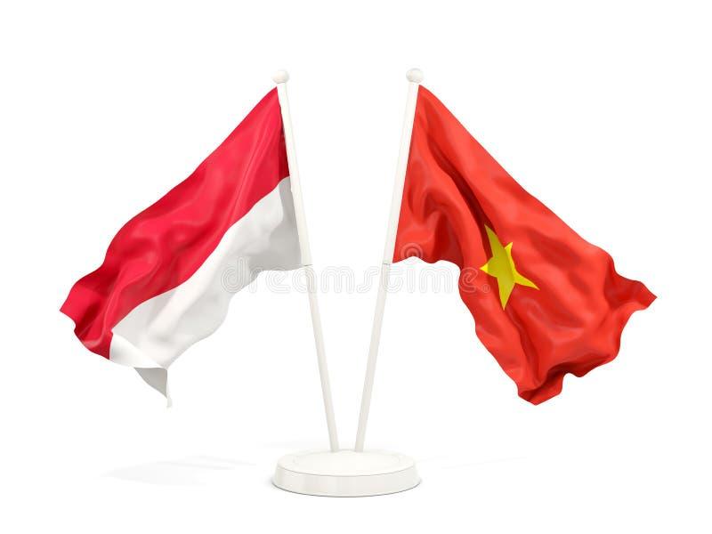 Två vinkande flaggor av Indonesien och Vietnam som isoleras på vit royaltyfri illustrationer